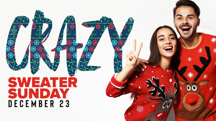Crazy Sweater Sunday at TR Students is gonna be a fun day! Wear the ugliest, craziest Christmas sweater you own and join us on this special Sunday full of Christmas goodies! We'll see you on December 23rd at 11:30.