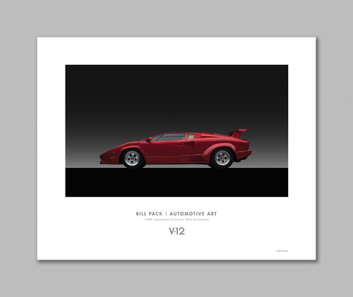 1989 Lamborghini Countach 25th Anniversary Poster V12 Bill Pack