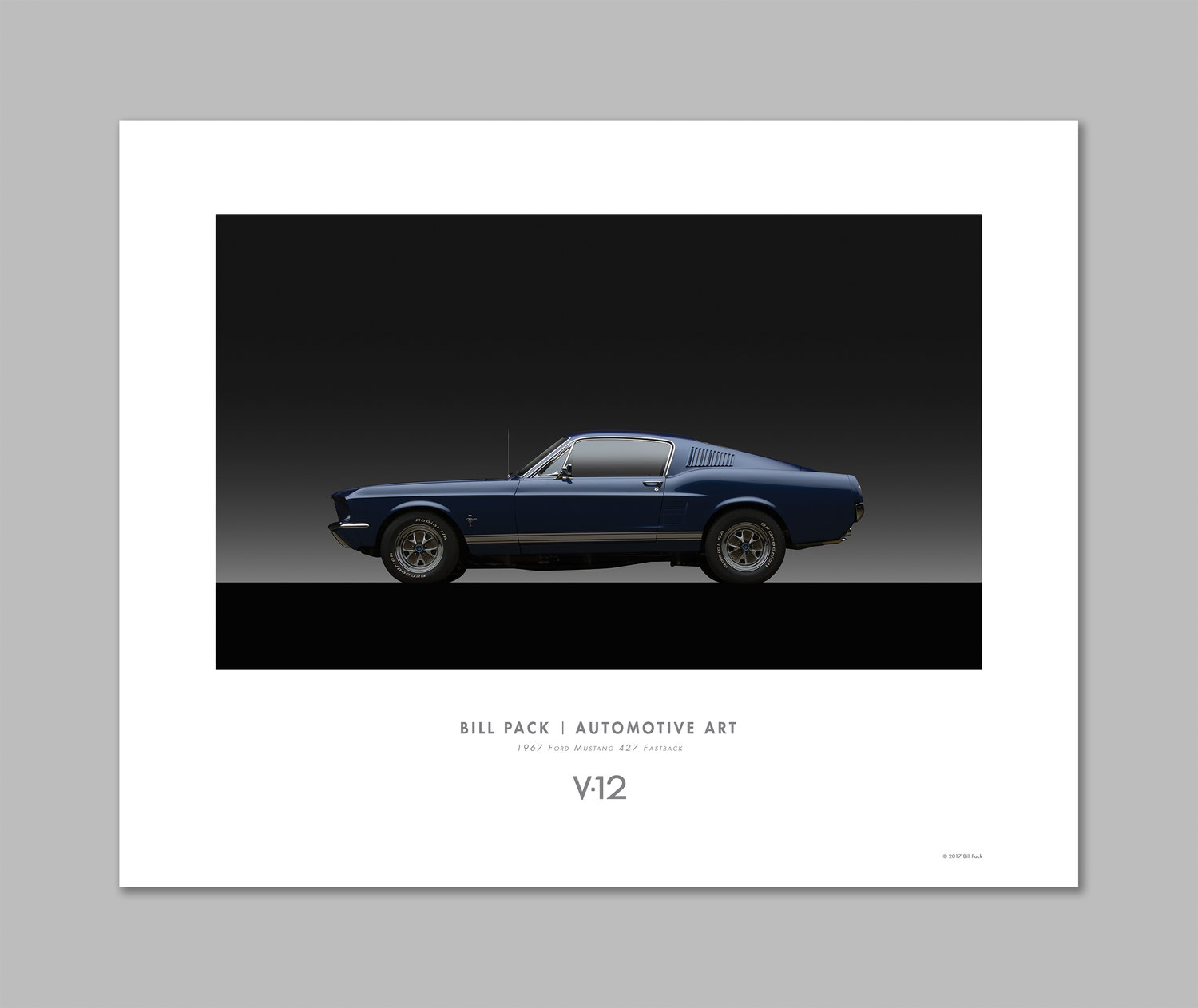 1967 ford mustang 427 fastback poster v12 bill pack automotive arts