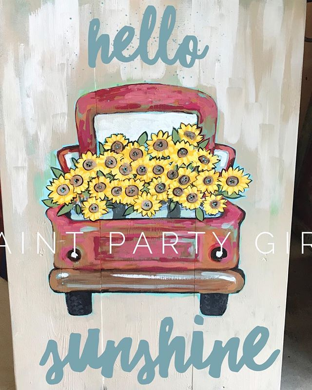 Truckloads of ideas for painting truckloads! Not sure what wording to paint though... I used word swag to test this out. Any ideas? #truckloads #sunflowertruck #hellosunshine #paintedwood #woodpalletart
