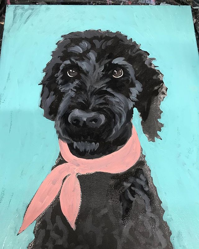Started a doodle! #barneydoodle #paintmypet #canvaspainting #acrylicpaintingtechniques #redbandana