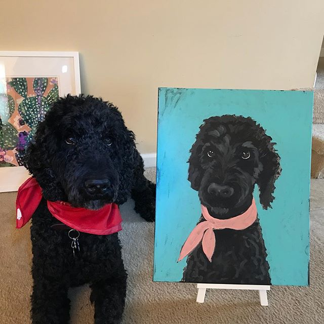 Life imitates art and Barney is such a good boy! #barneydoodle #doodleportrait #lovemyboy