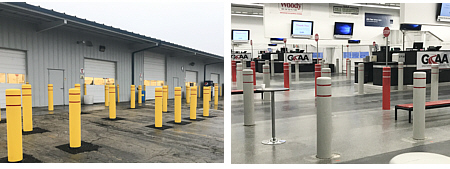 A total of 161 bollards were installed at Greater Rockford Auto Auction as part of its Customer Care Project.  The bollards protect customers and employees on both the sale apron approach and inside the sale lanes.