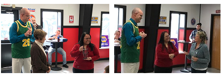 """Indiana Auto Auction recognizes two long-time employees with A Legacy of Excellence. (left: Auction Controller Andrew Schaefer and Office Manager Ana Tapia with Karen """"Maggie"""" Ross; right: Schaefer and Ross with Gail Thomas)."""