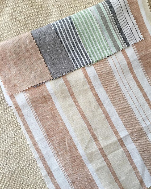 Striped yarn dyed linens in beautiful soft palettes. . . . .  #spring