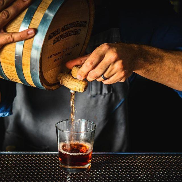 """Dragon in a Barrel"": @stgeorgespirits Dry Rye Reposado / Rittenhouse Rye / Bruto Americano / Peychaud's / Maple. #barrelaged for your enjoyment. #🥃 #ginittowinit #whiskey"