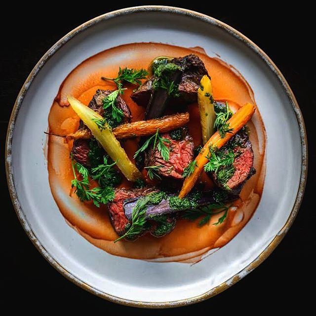 #wheresthebeef? It's on your dinner plate and it's a hanger steak from @flannerybeef with @weiserfamilyfarms roasted carrots, fermented carrot purée and carrot top chimichurri. #wehavethemeats #wealsohavethevegetables