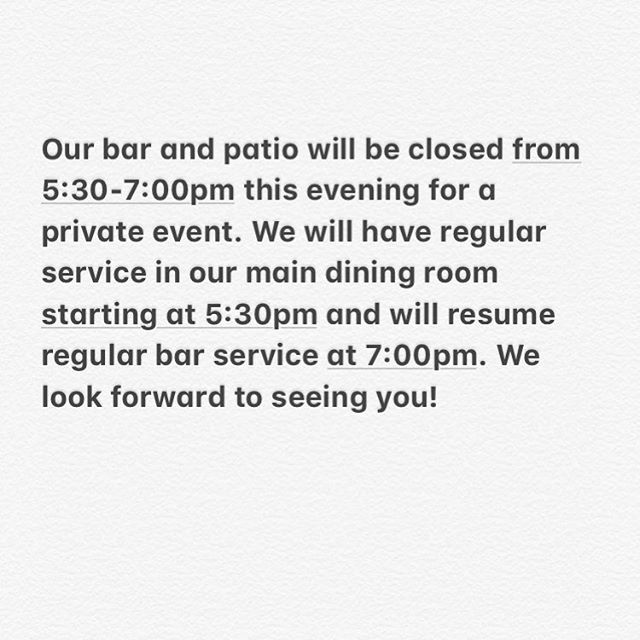 No early community hour this evening as our bar seating will be spoken for until 7pm. But come in for a cocktail or three any time after that! #🥂#🍷#🥃#🍹#🍸