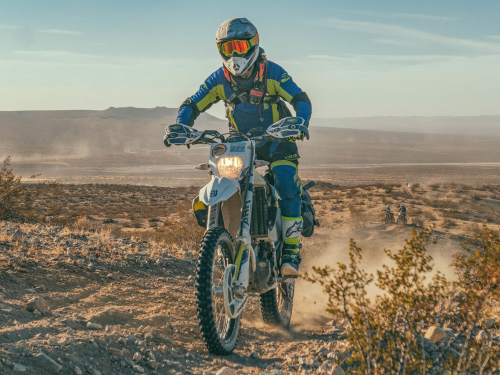 My first rip through the desert, was a bit of a learning experience. After a handful of over the bar wrecks, and some solid advice from Nick Vazquez, I loosened my grip on the bars and fell in sync with the unusual terrain that make up the Mojave Desert.