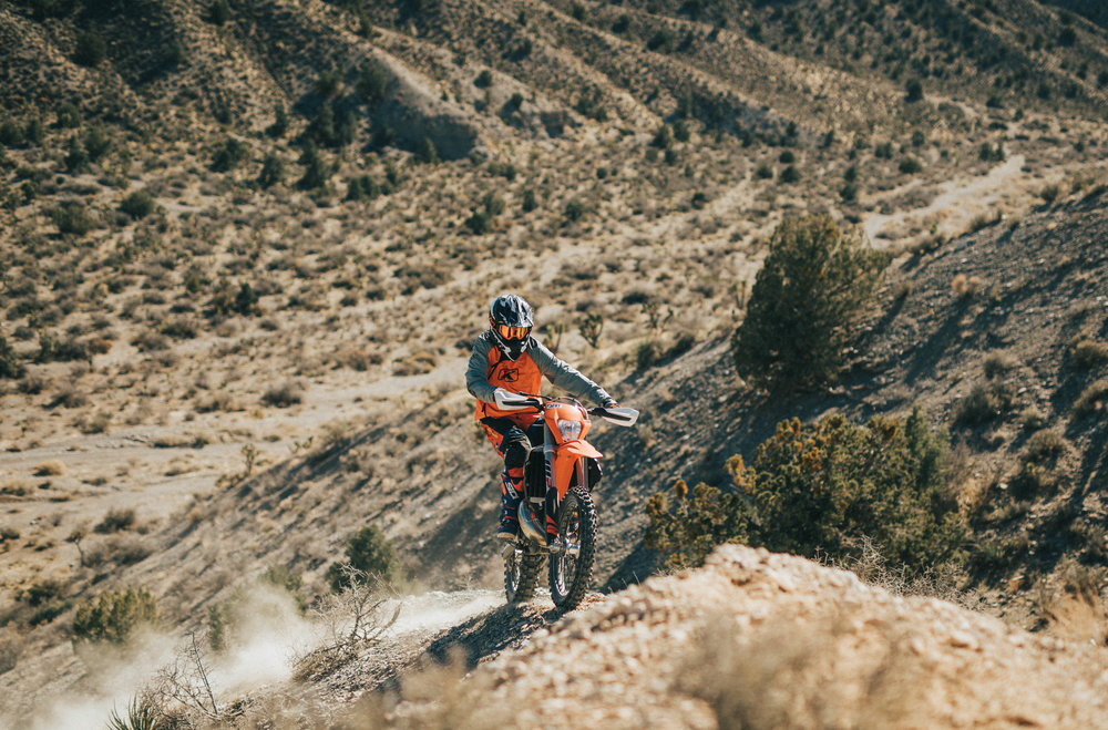 Jimmy putting the KTM USA 2018 250XCW TPI Test Bike through the paces.