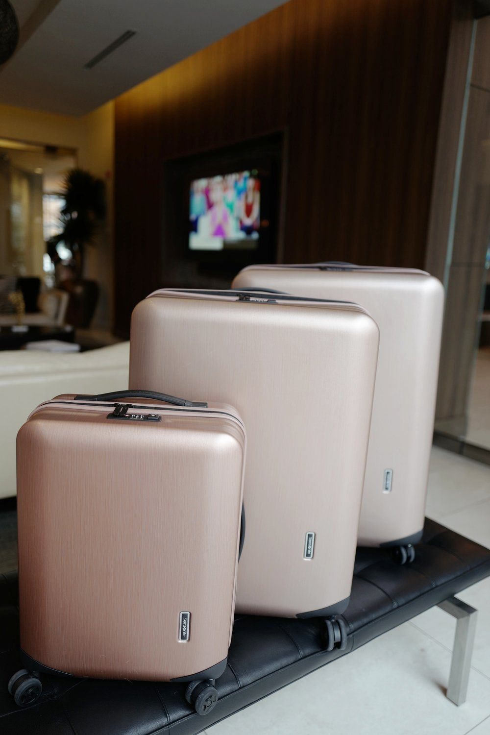 Samsonite luggage rose gold