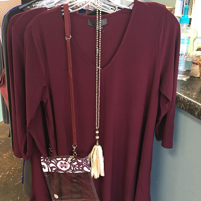 You'll love these maroon tunics!! Come in black, grey and blue. New bulldog t shirts and towels and lots of new pillows just in!!