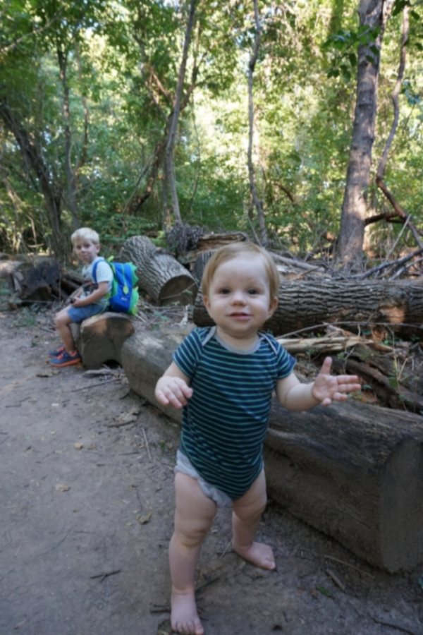 Pants totally optional for nature babies (note big brother's amusement)