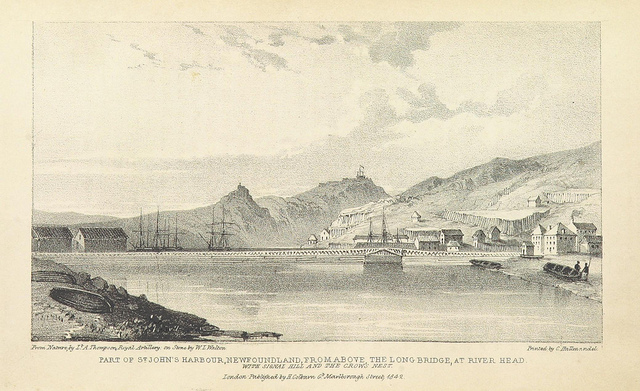 "Part of the St John's Harbour in 1842 . Taken from page 248 Newfoundland, in 1842: a sequel to ""The Canadas in 1841"". Credit Sir Richard Henry Bonnycastle, and digitised by  The British Library .  Public Domain Licence ."