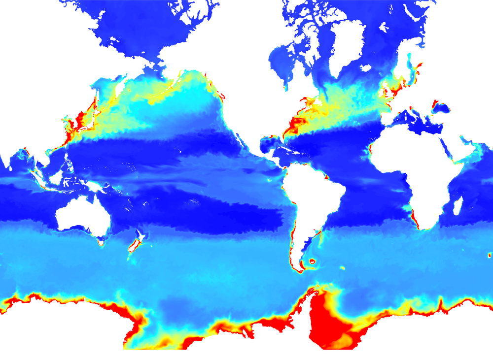 The BIOMER product comes in a MYO Arakawa-C ORCA025 native grid. This particular layer shows average Chlorophyll concentrations at the surface in January 1998.