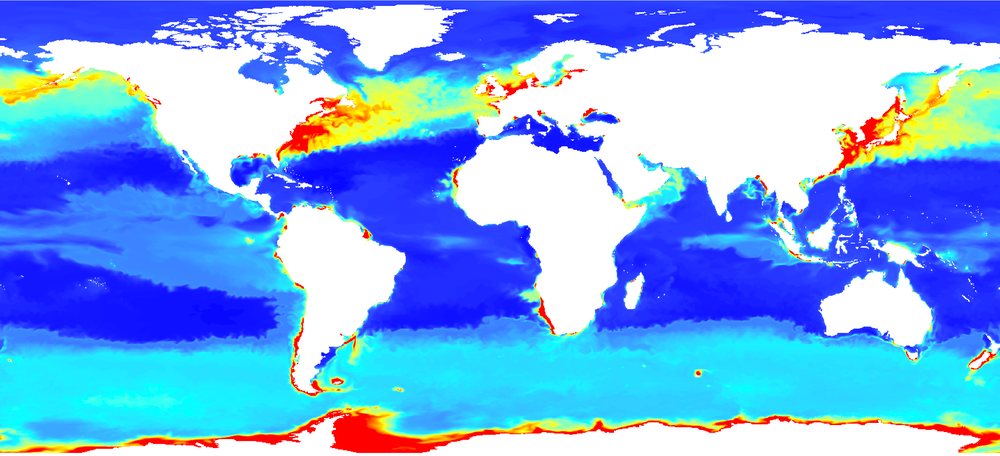 The surface Chlorophyll dataset from BIOMER in WGS 84, after conversion using the CDO operators