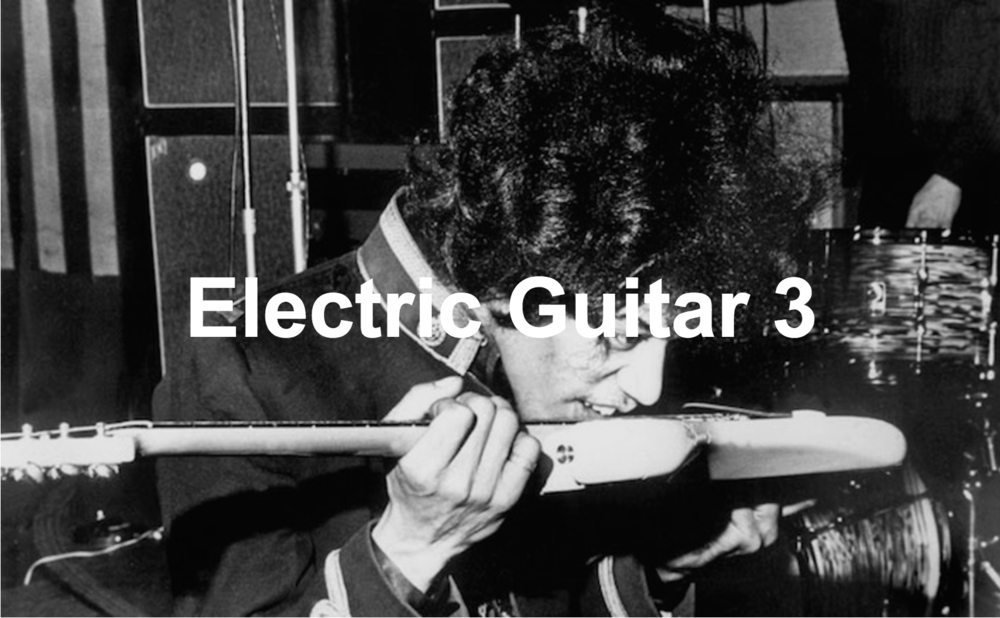 Electric Guitar Course 3    10 lessons – £300  This course is designed for players who have covered both courses 1 and 2 as well as those who have already acquired high levels of skill and knowledge in their playing.  By the end of the 10 week course you will have learned :  . Different chord positions up and down the fretboard. . Jazz chords . 12 bar blues (Lead style) – Further advanced positions. . Modes . Advanced riffs  Included are 10 songs selected to help with the techniques learned by artists such as Led Zeppelin, Eric Clapton, Jack White and Jimi Hendrix. In the lessons the student will perform the songs in a duet with myself, as well as as being taught tailored practicing techniques to improve the speed of their development when not in the lesson.