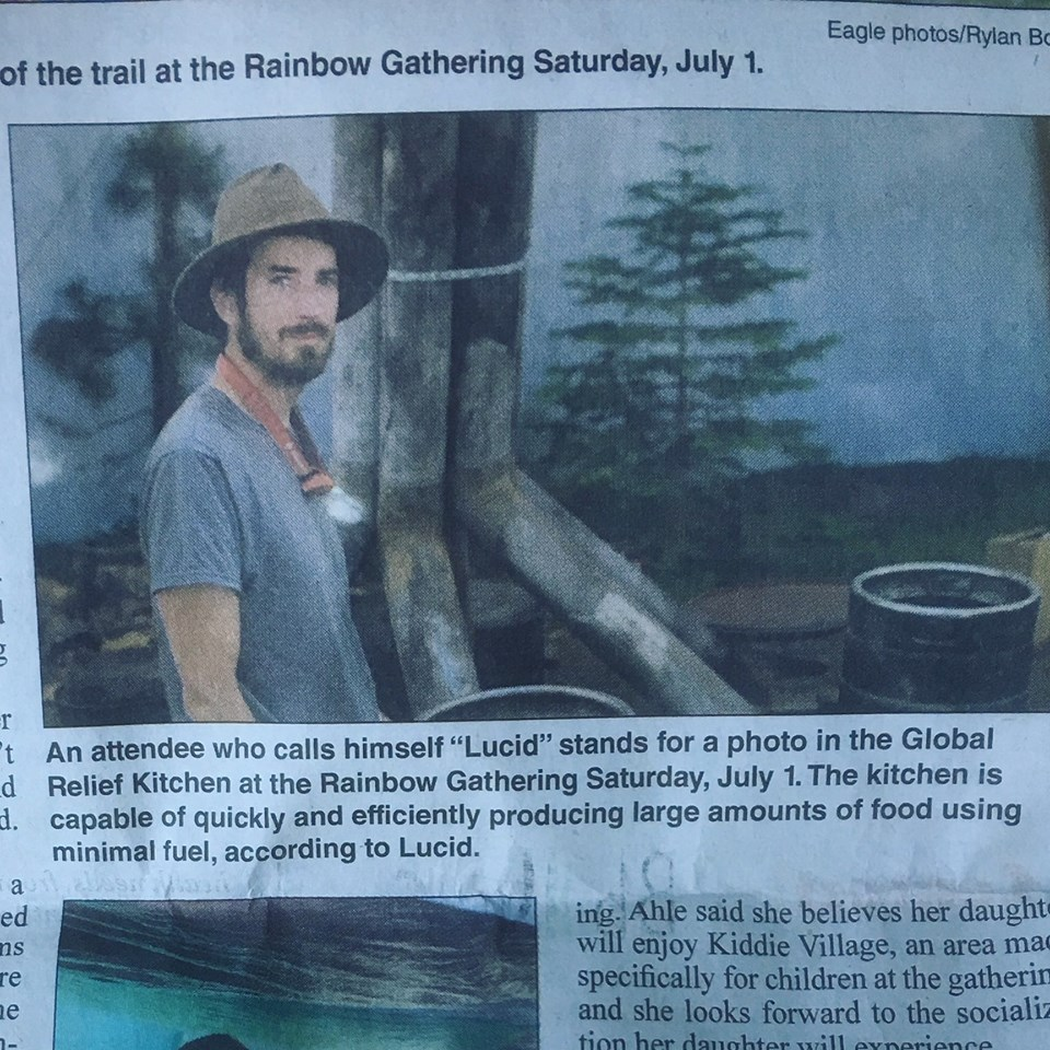 This is Lucid, our Program Director, standing beside our new and improved industrial kitchen inside of our giant new Rapid Response Tent in the local Grant County newspaper in Oregon. (Reffered to here as Global Relief.)