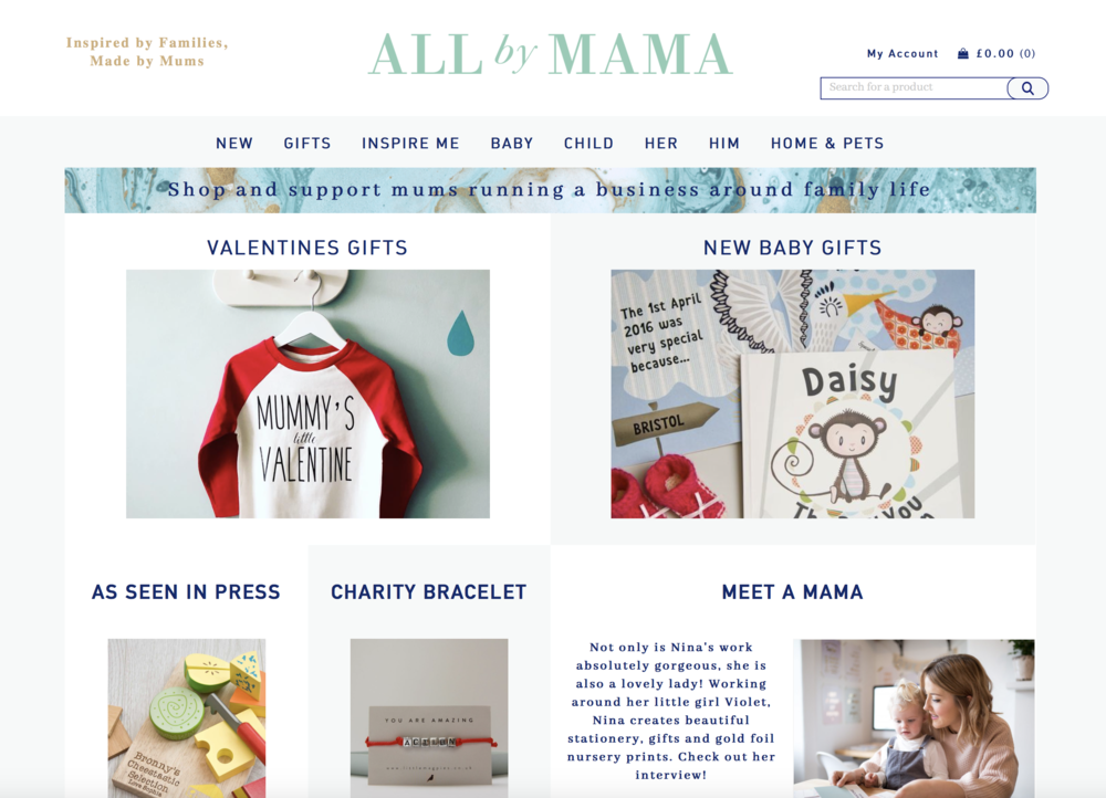 AllbyMama.com - featured item on their home page and social media adverts for Valentines Day