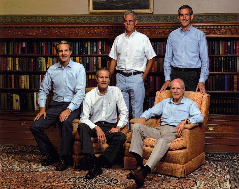 Sitting left to right: Jeff, Joe Sr, Bill / Standing left to right: Joe Jr, Pete – 1998