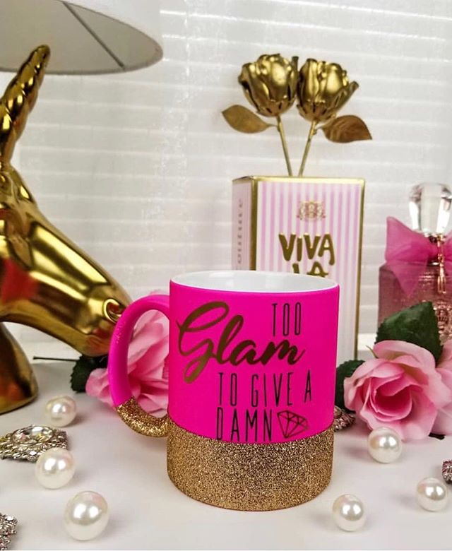 Look at this share from @forhervanity 💕 LOVING all of the pink & gold #tooglamtogiveadamn 💋 • • • • • • • • #savagesips #savageco #glitter #glittermug #glitterdipped #pinkmug #coffee #coffeelover #fashion #tuesday #morningmotivation #glamglow #onwednesdayswewearpink