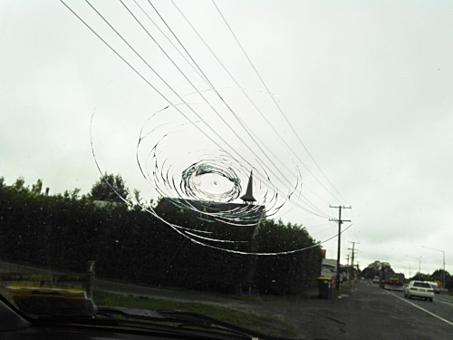 Rock: 1; Windshield: 0. Photo by Clarissa @  Placing History.