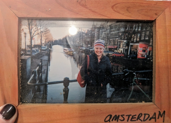 I don't seem at all concerned that it's New Years Eve, and I didn't book anywhere to stay. (Amsterdam, NYE 2001)
