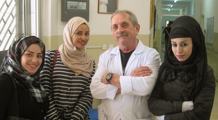 Dave Evans and trainees Shefa, Hadeel, and Marwan at the Al Bader Center, Jordan. -