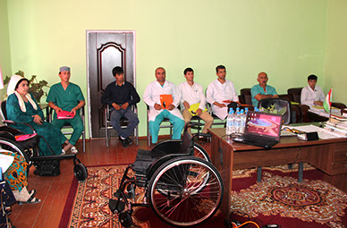 Wheelchair training at the Regional Hospital in Gharm.