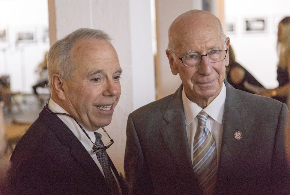 Sir Bobby Charlton and Michael Lundquist Executive Director of Polus Center