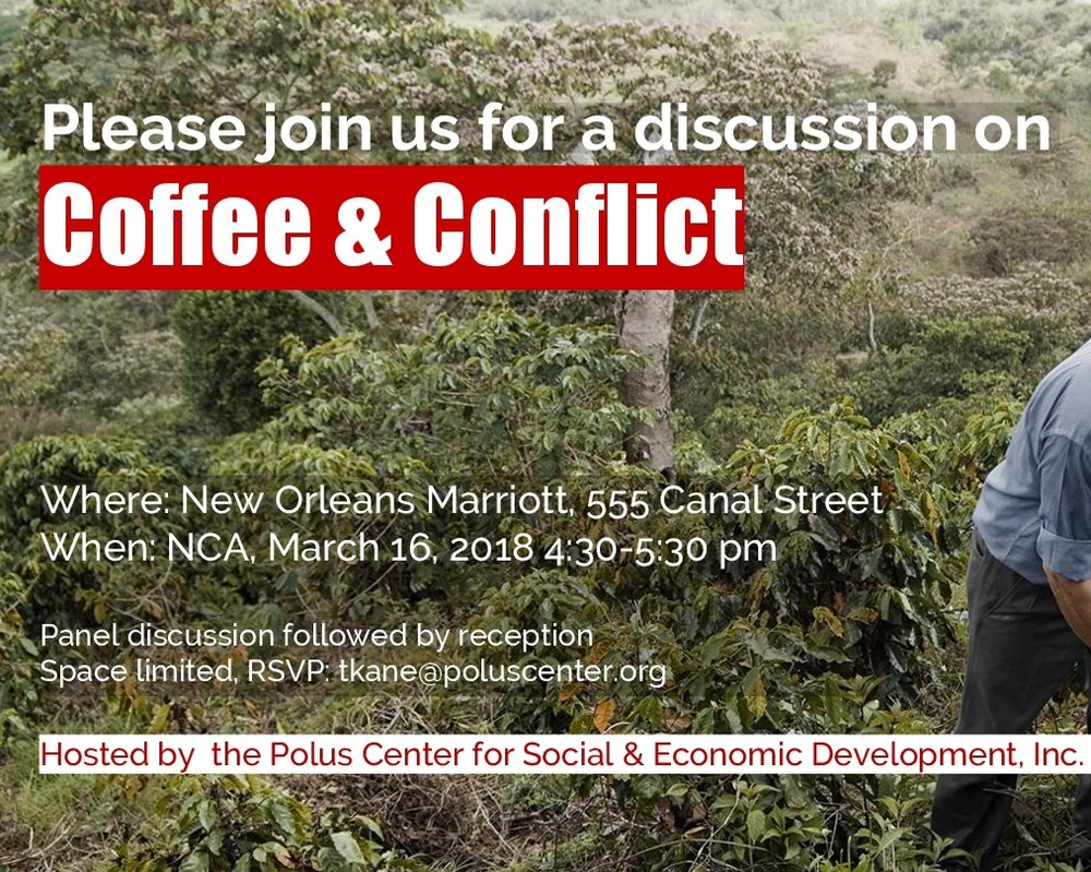 Join the Polus Center as we host 5 Industry panelists at the National Coffee Association and explore the challenges faced by coffee farmers living in conflict zones. Learn how public - private partnerships in Colombia and the Democratic Republic of Congo are paving the way for safe sustainable growth in the specialty coffee industry. photo: Stephen Petegorsky