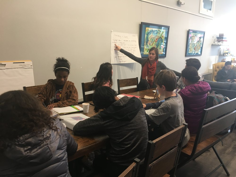 Denver Montessori Junior High Students attend a lesson at Pinwheel