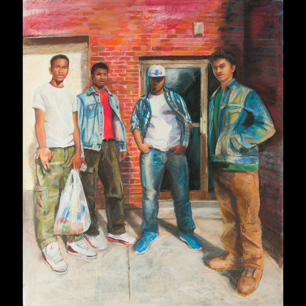 Four North Side Boys - 4'x5'Pastel on Paper2014