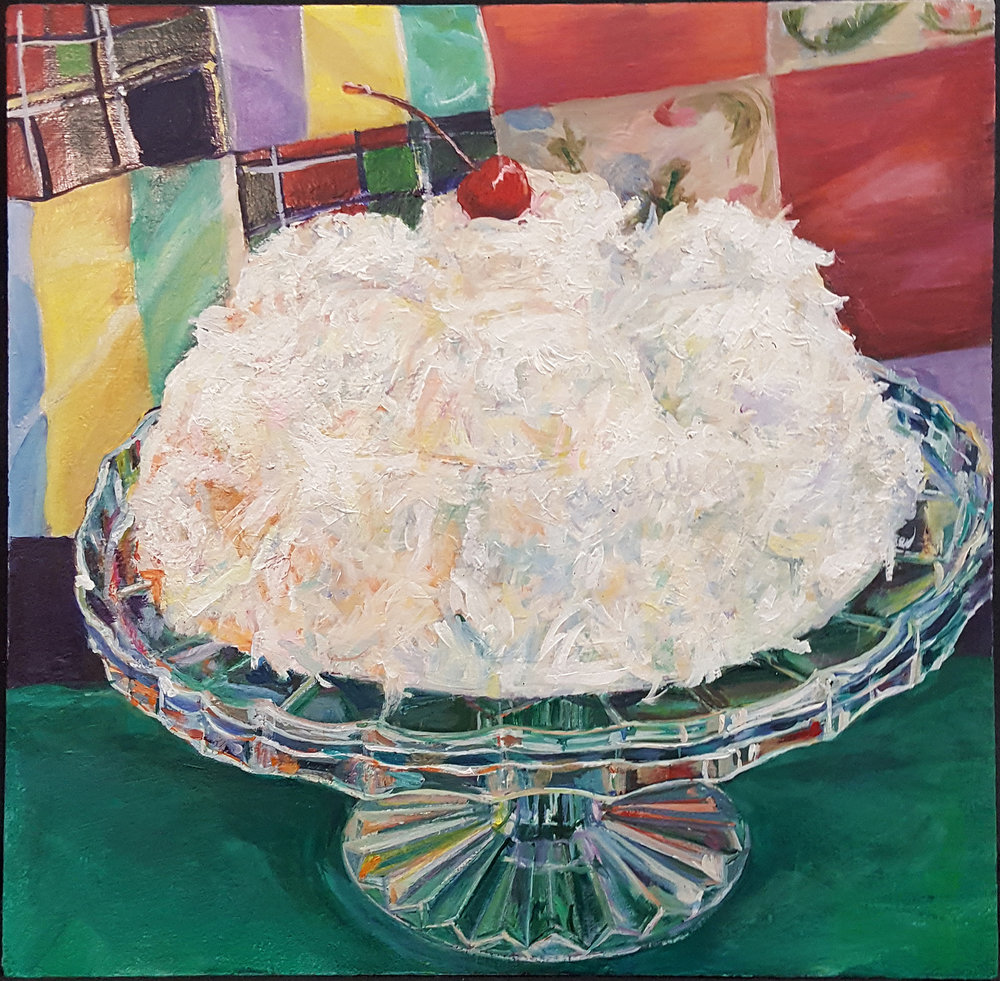 Cherry Coconut Box Cake - Acrylic on panel