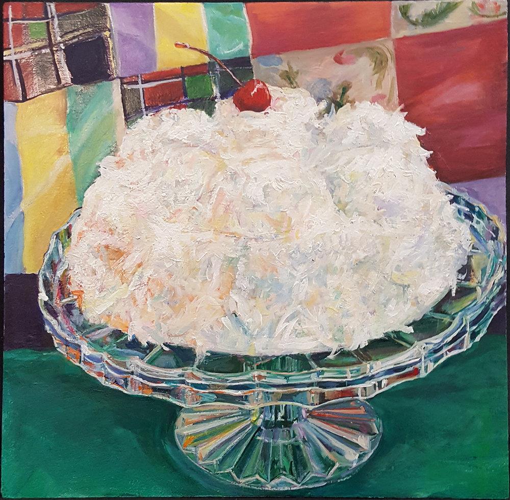 Cherry Coconut Box Cake - Acrylic on panel