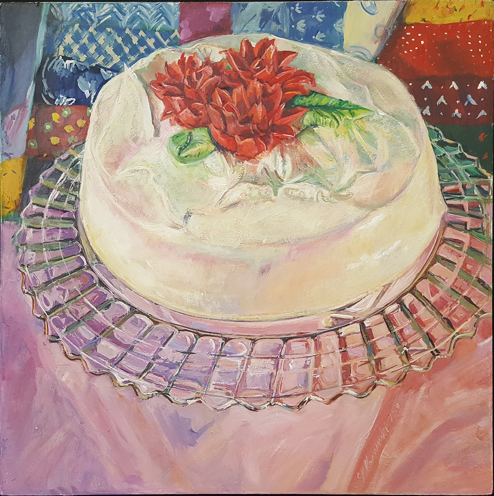 Flower Box Cake - Acrylic on panel