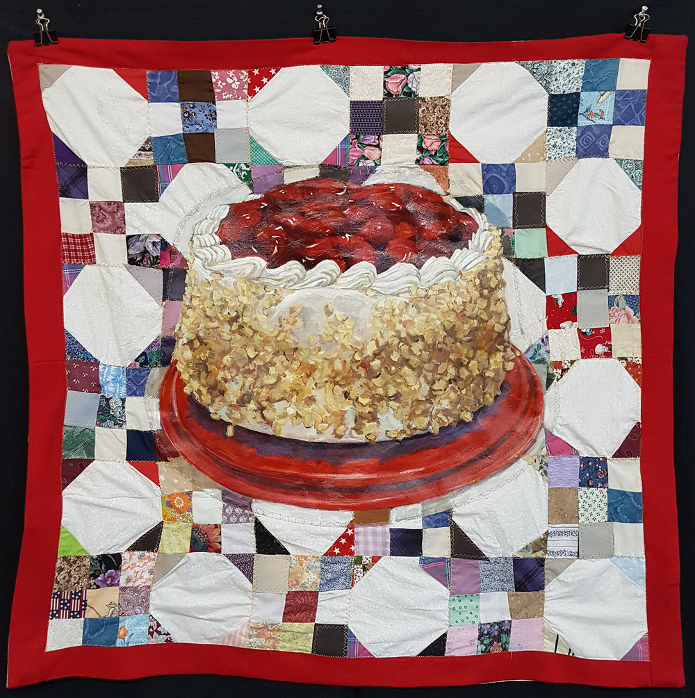 Cherry Nut Cake  - Acrylic painting appliqued onto quiltHand and machine stitched