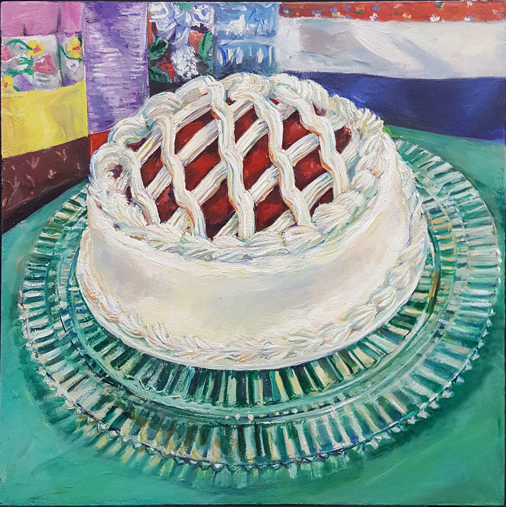 Woven Box Cake  - Acrylic on panel