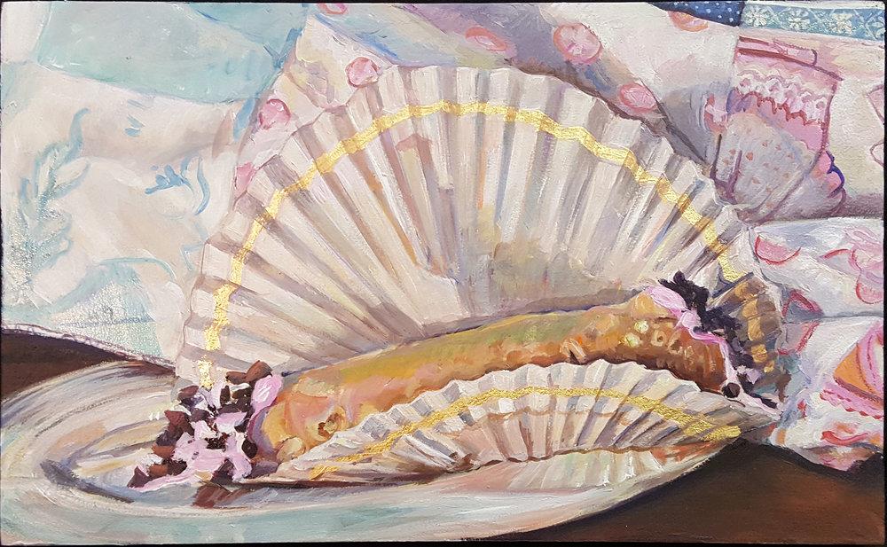 Holi Cannoli - Acrylic on panel, gold leaf