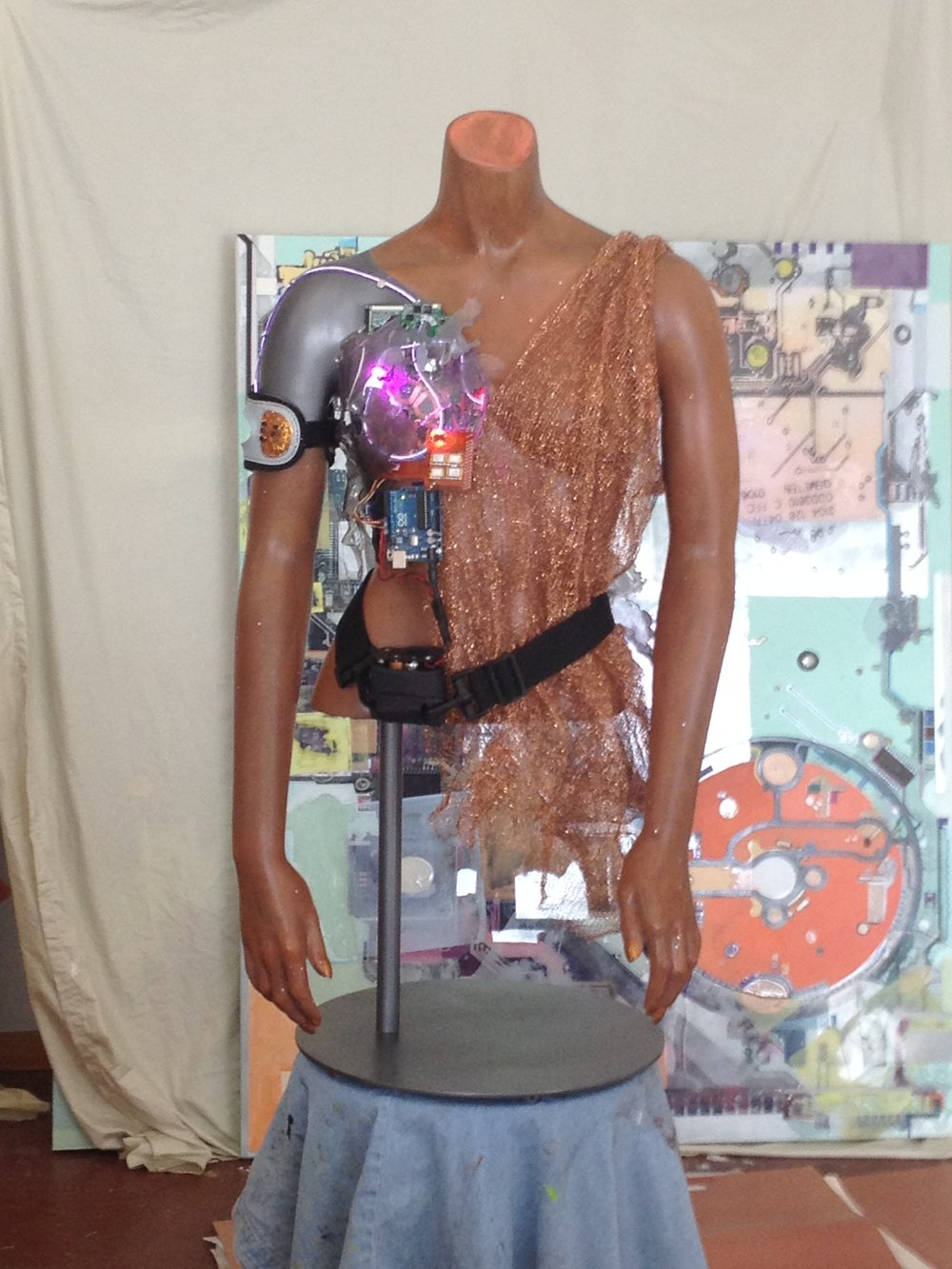 Warrior - Reclaimed torso, copper netting, found medical utilities, LEDs and battery powered microprocessor
