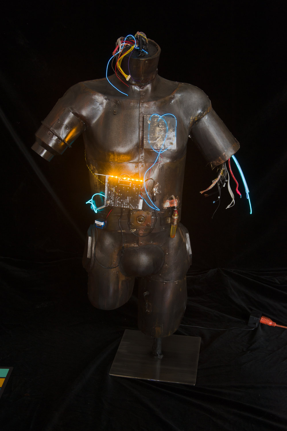 Pneumatic Man - Reclaimed torso, cool lites, microprocessor
