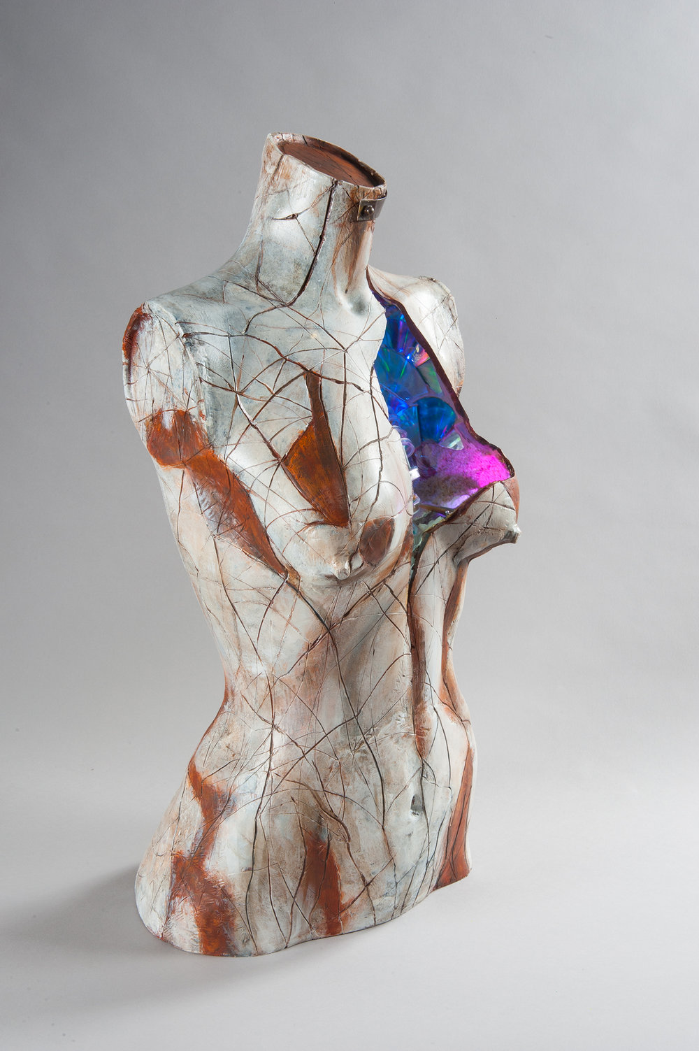 Ceramic - Reclaimed torso, sand,cd's, LEDs, microprocessorPrivate Collection