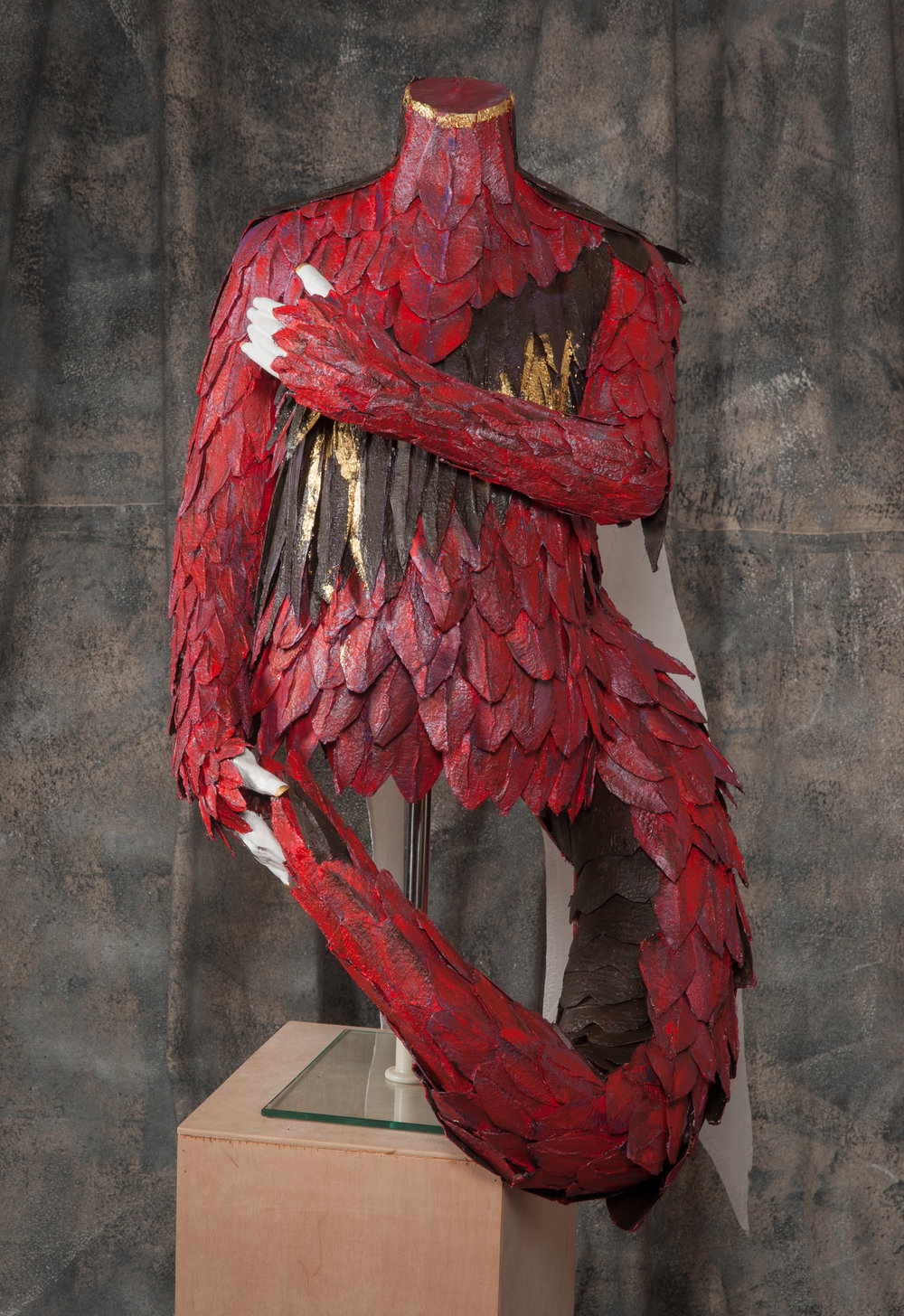 Dragon - Reclaimed torso, plaster, fabric, recycled materials
