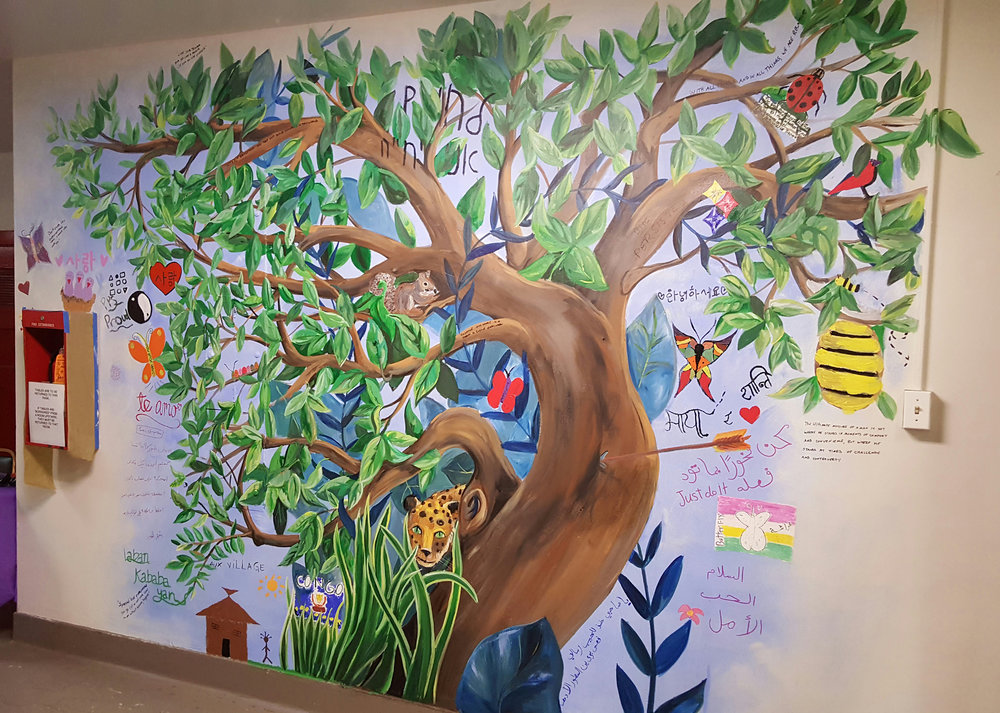Language Tree - Painted with students from Global Minds, Pittsburgh Cares for the Wilkins School Community Center