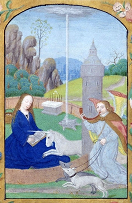 Hunt of the Unicorn Annunciation (ca. 1500) from a Netherlandish book of hours. In the hortus conclusus, Gideon's fleece is worked in, and the altar at the rear has Aaron's rod that miraculously flowered in the centre.