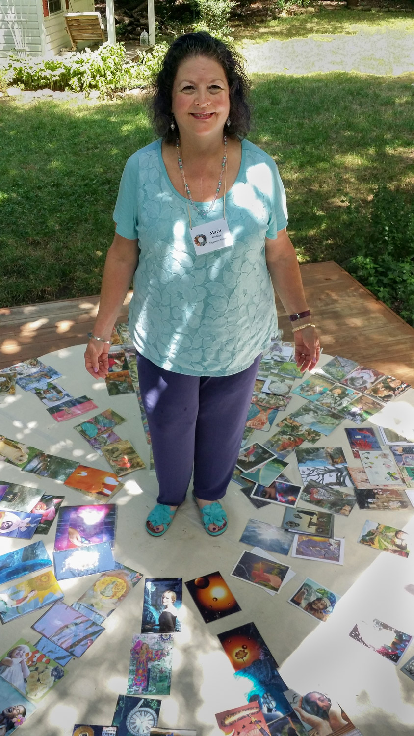 Marti in Charlotte, NC at Catherine Anderson's SoulCollage® Facilitator Training,  July, 2017, 10 years after first training with Seena B. Frost.