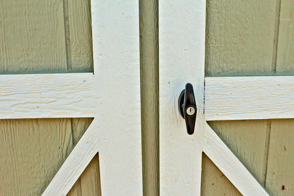 T Handle installed on a shed door
