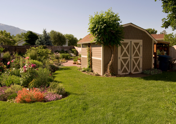 Beautiful Landscaping around a storage shed