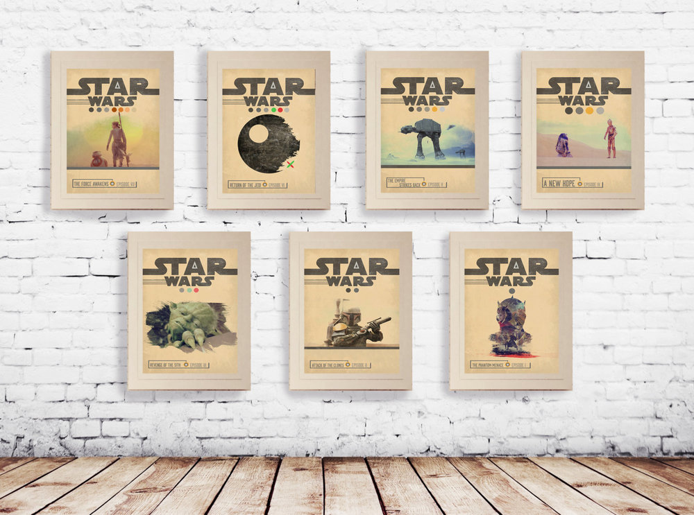 Star Wars Classic Posters for movies 1-7