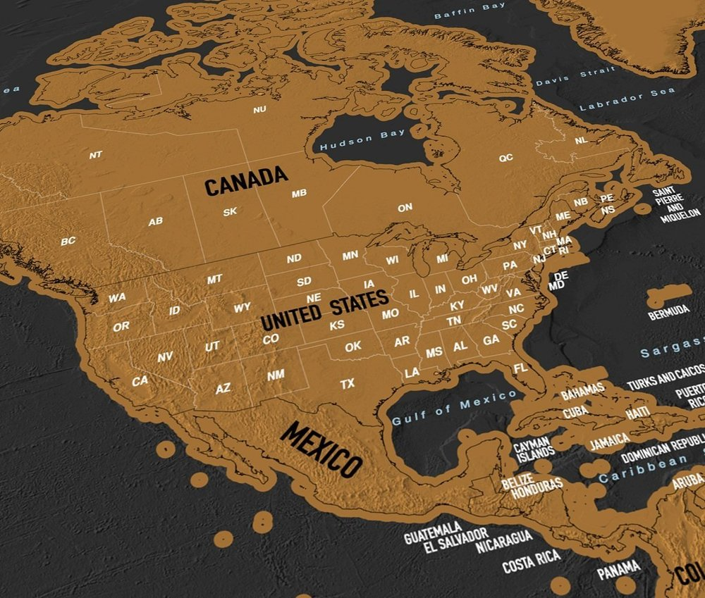 Scratch off world map showing the United States, Canada and the top of Mexico